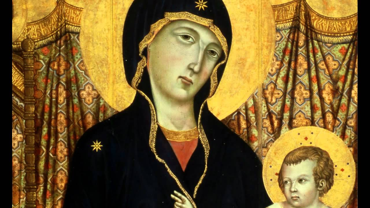 「杜奇歐:〈端坐寶座的聖母與聖嬰及六位天使〉」- Duccio, The Rucellai Madonna